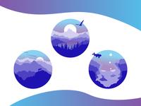 Land, Air, Water Monochromatic Illustrations