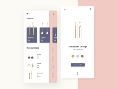 Mobile E-commerce UI Design clean minimal cards jewelry app ecommerce ux ui