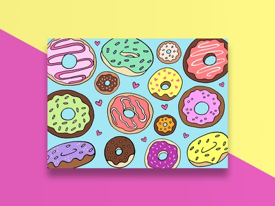 Snail Mail Donuts Card illustration donuts graphic design greeting card