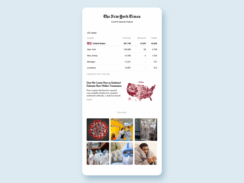 NYT Covid Special Feature dailyui webpage graphic uxdesign app uidesign interaction ux ui design