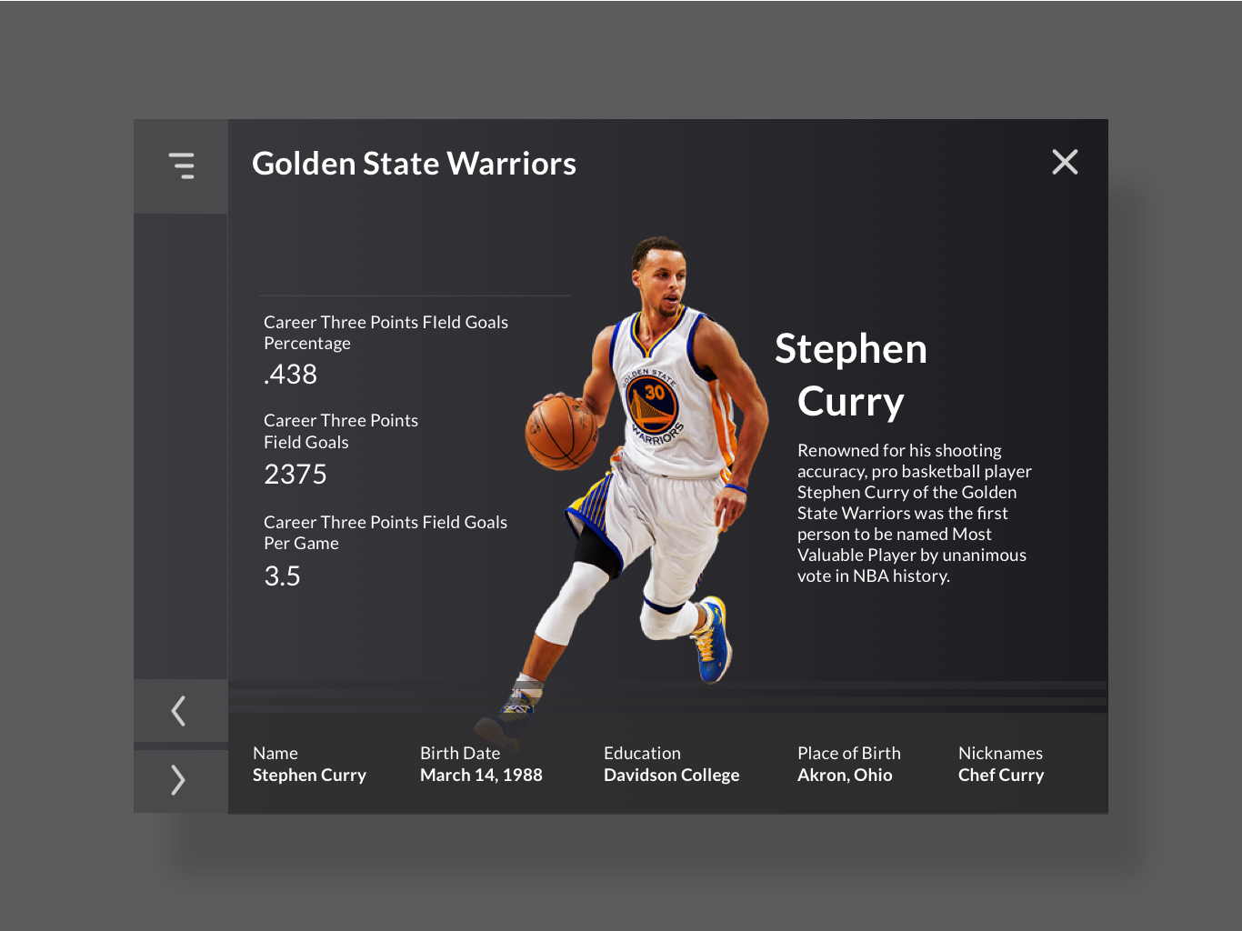 Stephen Curry Info interaction webpage design ux ui info stephencurry