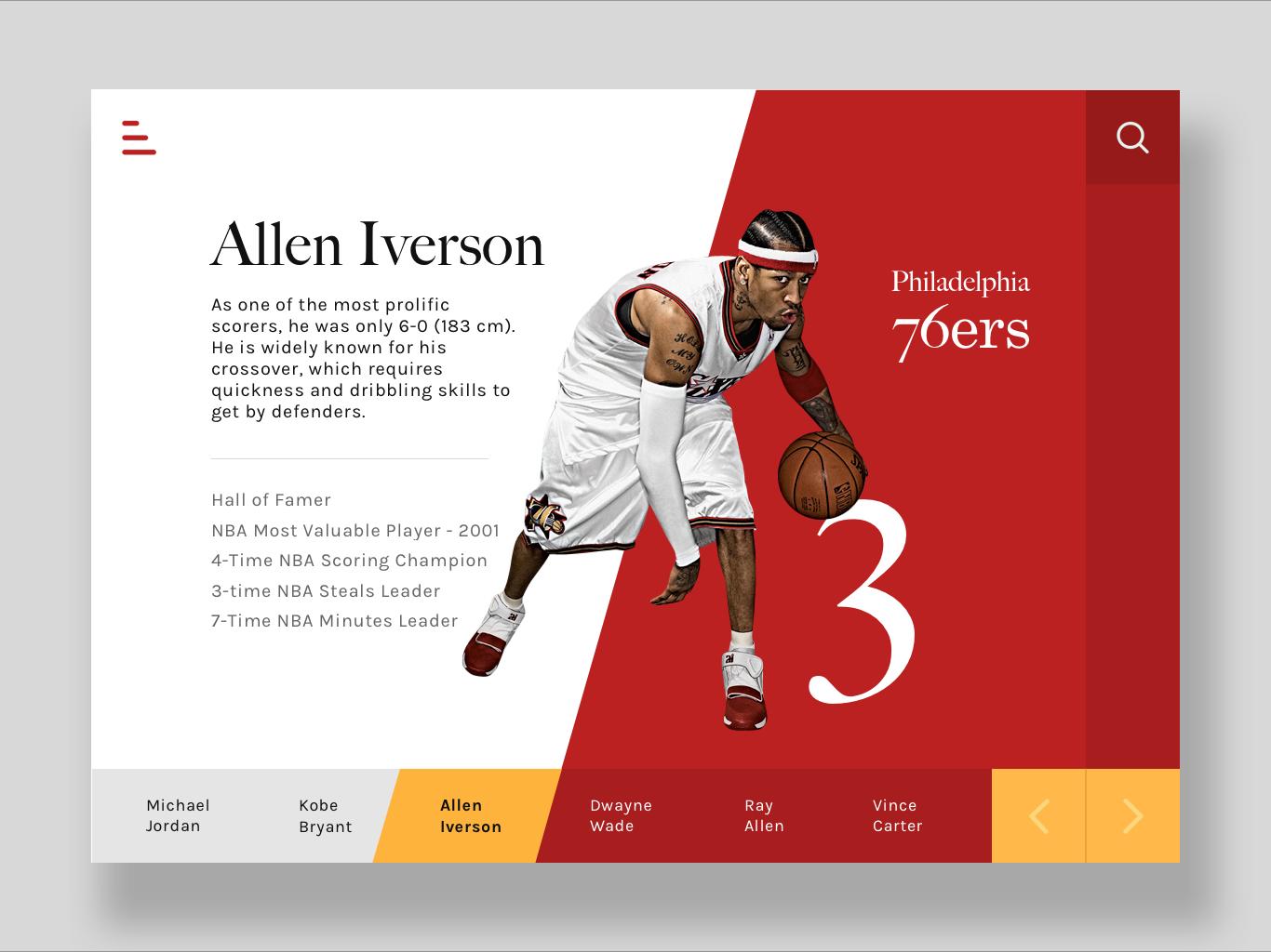 Allen Iverson Tribute UI nba basketball interaction design ui ux philadelphia crossover iverson allen