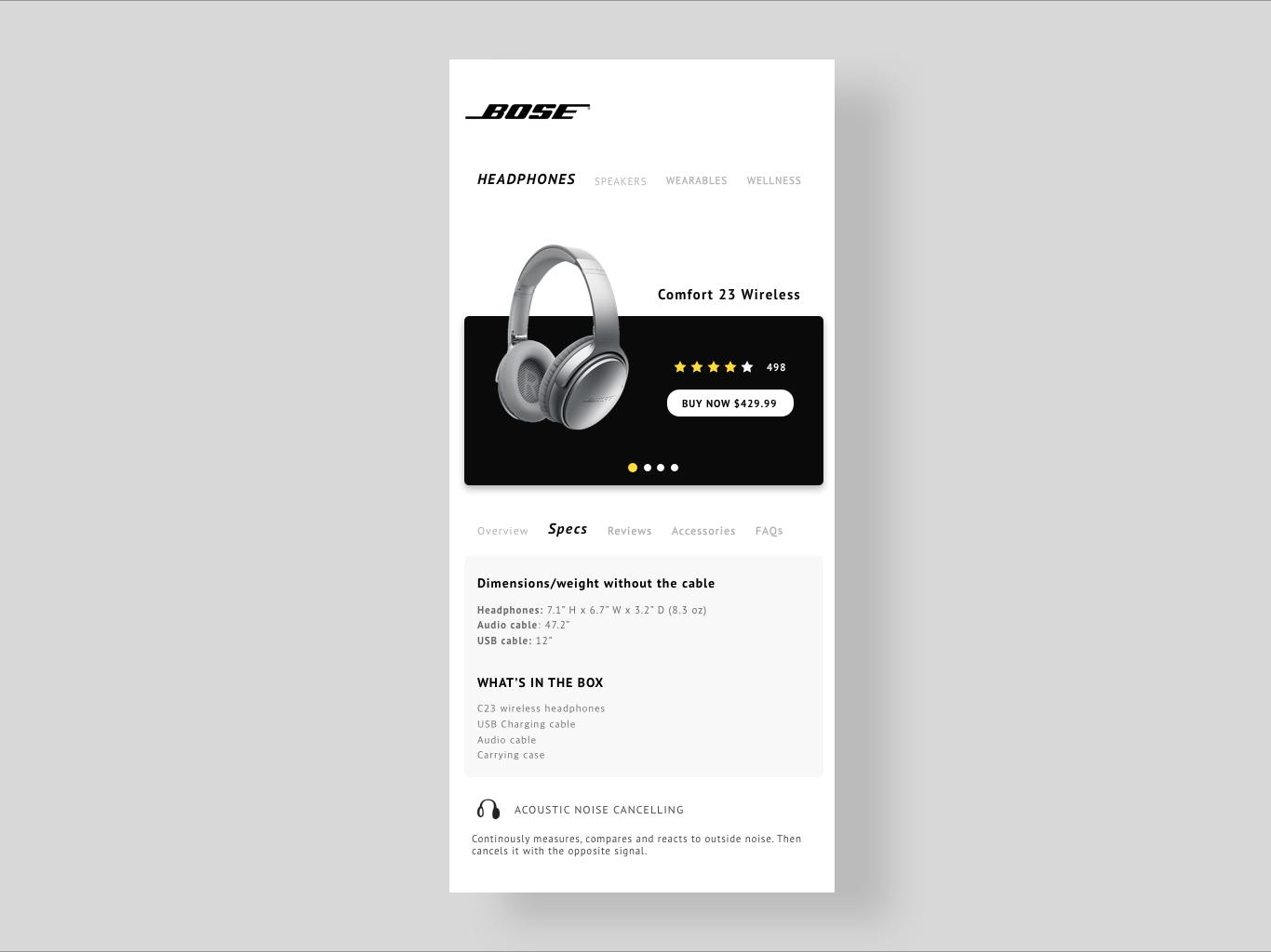Bose Concept Page concept app cellphone app headphones interaction design uidesign uxdesign ui page concept bose