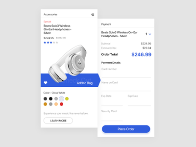 Credit Card Check Out UI concept checkout creditcard headphone graphic dailyui uxdesign uidesign app interaction ux ui design