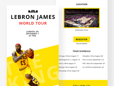 LeBron James World Tour Email Design webpage graphic ui ux nba poster design email basketball nba lebronjames