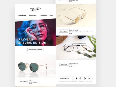 Ray-Ban Email Design webpage app ui ux interaction uidesign graphic glasses design email rayban