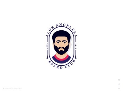 Los Angeles Beard Club  logo mark beard bhagirath typography creative barber logo barbershop flat club logo beardman art icon character minimal branding brand badge logo logo