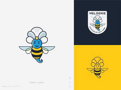 Mel Genie Logo angel flying wings simple bhagirath icon art mascot illustration minimal creative bee honey genie label branding character logo