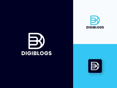 Digiblogs Logo symbol logotyp brandmark simple app bhagirath monogram logo minimal mark design branding icon logo