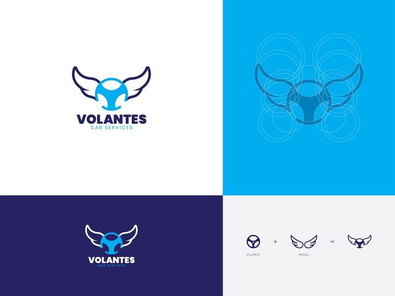 Volantes Logo Design bhagirath symbol wing mark simpel wheel volantes branding car service flying logo