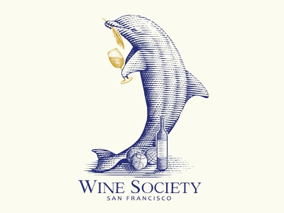 Logo concept for a Wine Society. illustrator classic logo scratchboard handdraw illustration vintage engraving engraved