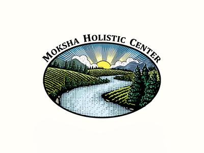 Logo for Moksa Holistic Center Park. park engraved scratchboard farm engraving vintage handdraw logo