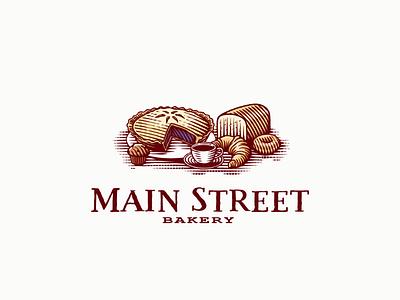 Logo for Main Street Bakery vector illustrator illustration art handdraw vintage bakery engraving