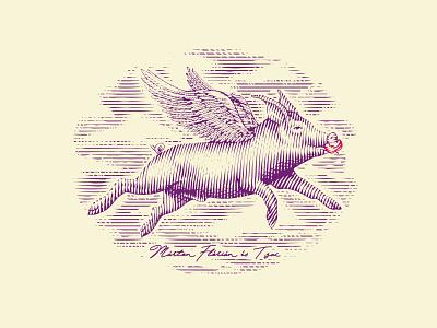 Illustration flying pig line engraving farm logo pig handdraw scratchboard engraved engraving vintage illustrator illustration