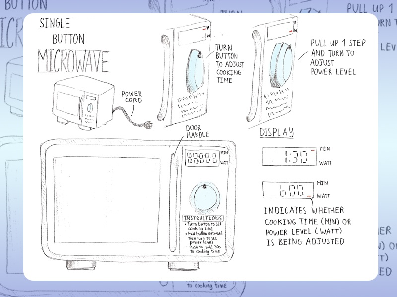 A Single-button Microwave hand sketch microwave product design