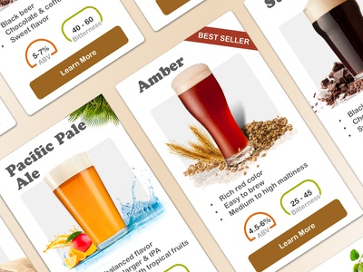 Craft Beer Product Cards e-commerce beer ui website