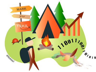 Mark Your Trail gradients trail hackaton camping illustration