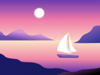Sunset ocean sea landscape sun boat sunset web illustration