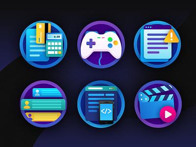 IT_icon_set game illustration design game design motion design developer hr qa accountant icons