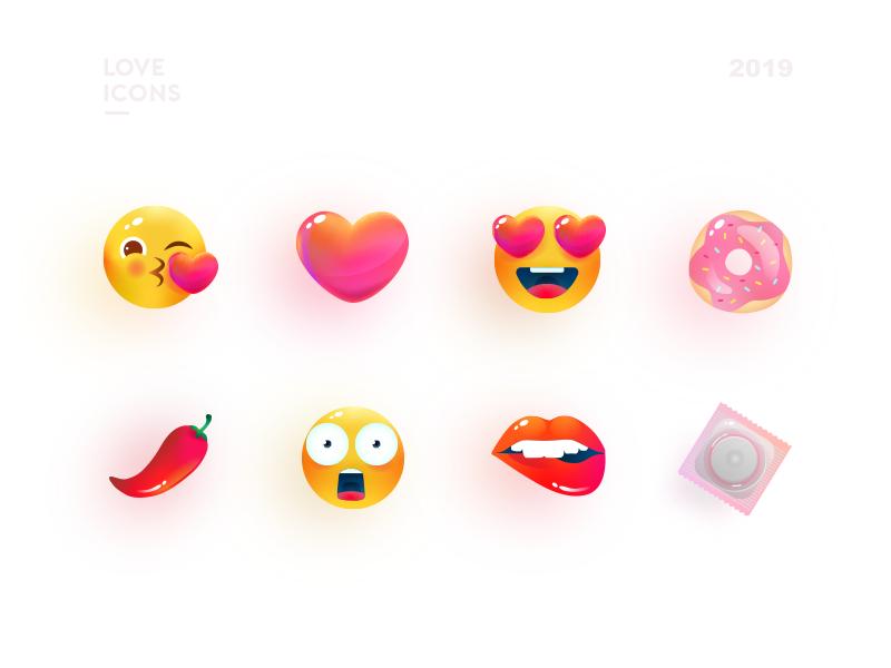 Love icons illustration vector art sexy illustraion smile emoji dating love icons