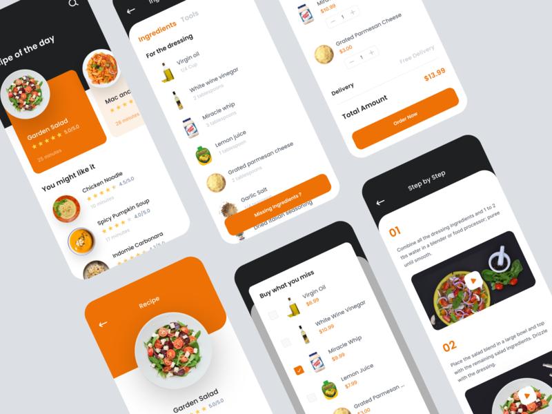 Recipe App Exploration categories orange recipe book cooking recipe app food app food recipe ux ui mobile uidesign ui ux design