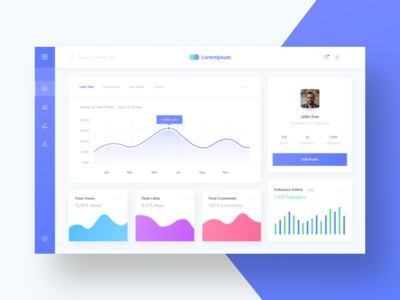 Social Media Dashboard Exploration blue web design light uidesign ui  ux design dashboard