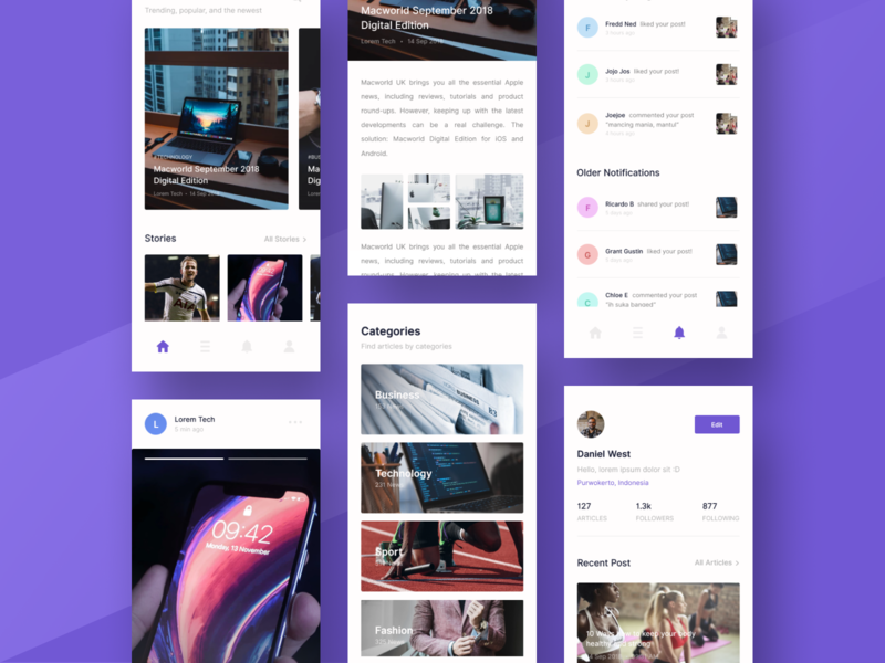 Articles App Exploration mobile app design discover categories profile mobile design ui ux uidesign
