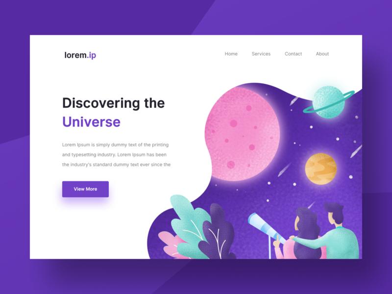 Universe Landing Page Exploration galaxy uidesign moon couple illustration space universe design ui ux web design