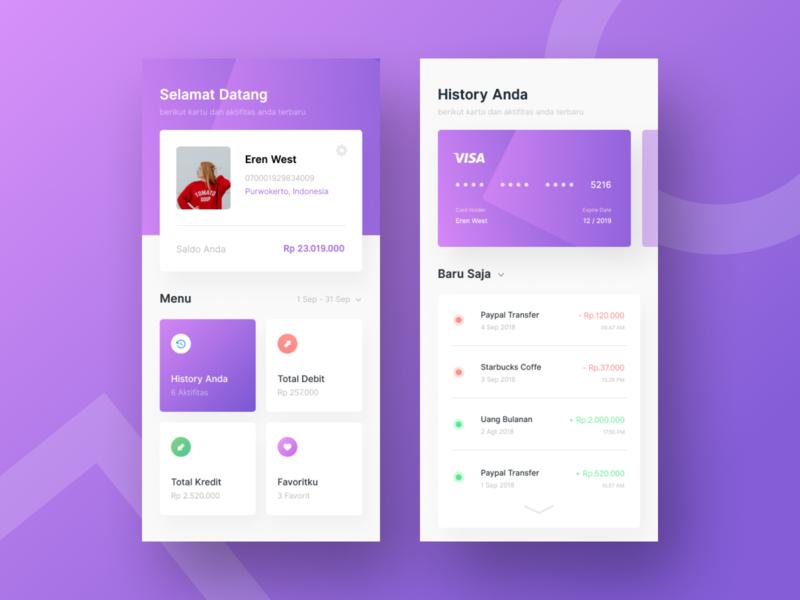 Mobile Banking Exploration dashboard profile card purple design uiux uidesign banking mobile banking
