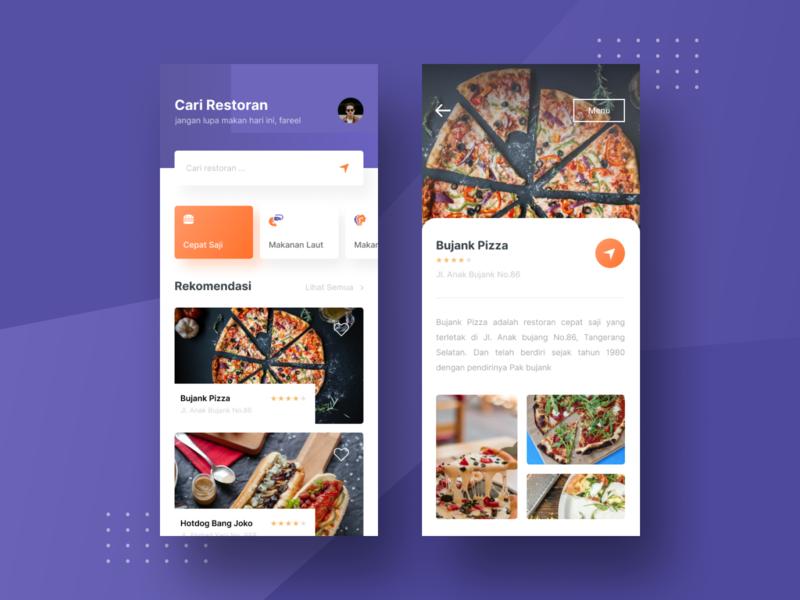 Find Restaurant App Exploration restaurant app food app categories purple food mobile dashboard web design uidesign ui ux