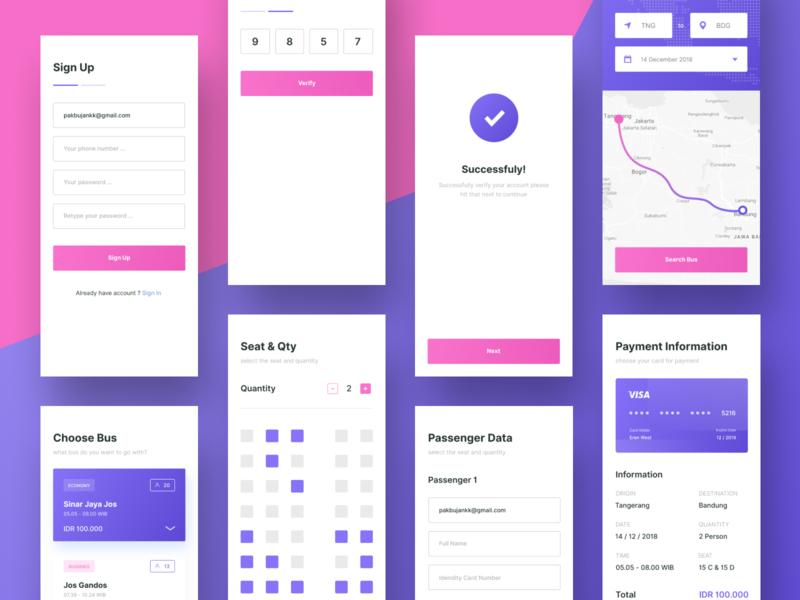 Bus Booking App Exploration payment maps pink purple bus booking app ui mobile uidesign web design ui ux design