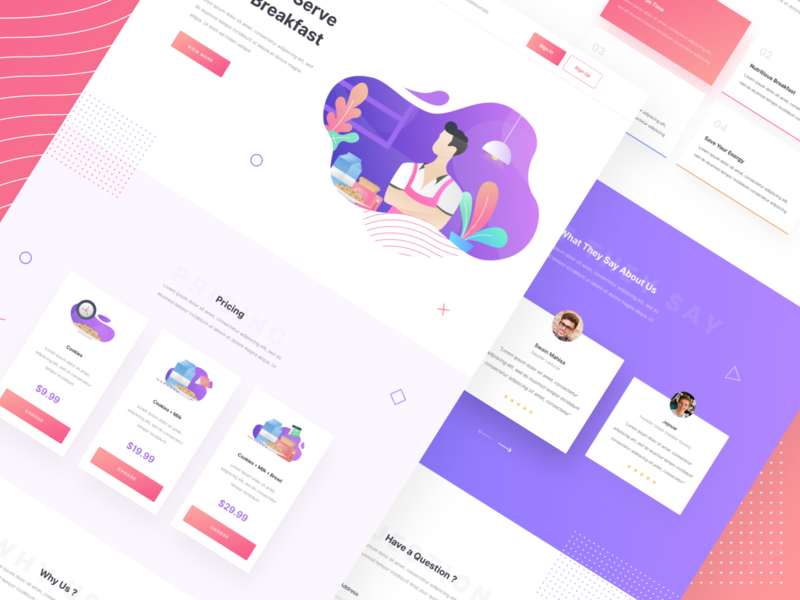 Anter.in Landing Page Exploration cookies milk bread chef vector purple landing page illustration uidesign web design ui ux design