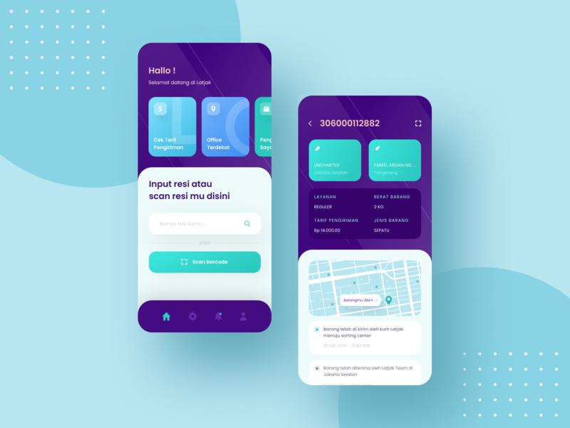 Latjak - Package Tracking App map track purple ui dashboard mobile uidesign ui ux design