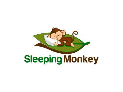 Sleeping Monkey sleeping identity icon graphic design logo calligraphy branding monkey