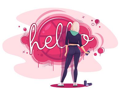 Hello Dribbble! girl character graffiti hello dribble illustration