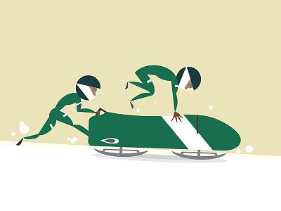 Bobsled Naija vectorillustration sports olympics winterolympics winter snow adobe illustrator illustration nigeria bobsled