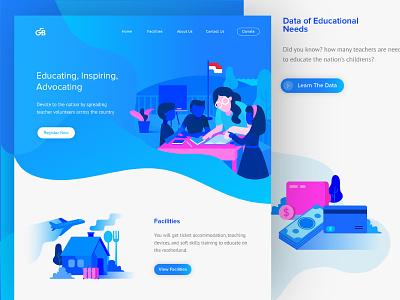 Guru Bangsa, Educate for Inspiring vector illustration children teacher school book pro popular ui website landingpage education