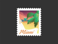 Miami Night Stamp Poster