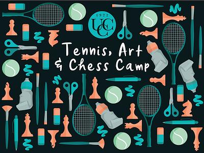 Tennis Chess Art Camp icon icons icon pattern design paint illustration art tennis chess pattern