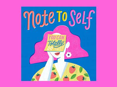 Note to Self - Portrait series portrait design clean illustration art lettering illustration