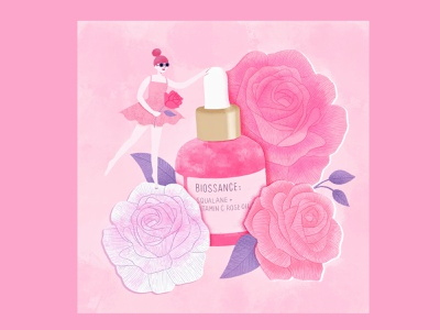 Biossance Rose Oil Illustration beauty brand skincare procreate illustrator cover design illustration art illustration branding