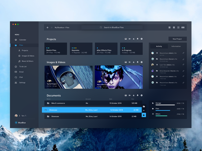 Blueblue Dark Version ui debut documents image files mail calendar management app dark minimal concept dashboard