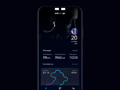 onetwo go - Mobile & Smart watch uxd dailyui watch ui watch apple watch debut sport app sports sport ui animation running app