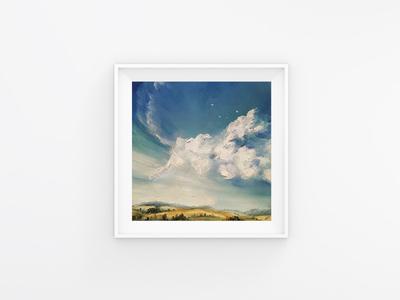 Cloud paint oil landscape picture