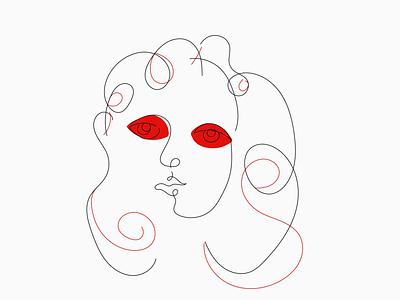 Contour woman vector handdrawn illustration minimal red modern lines