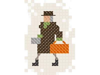 Elderly Woman with Luggage woman shape graphic  design people illustrator pixel art craft design illustration