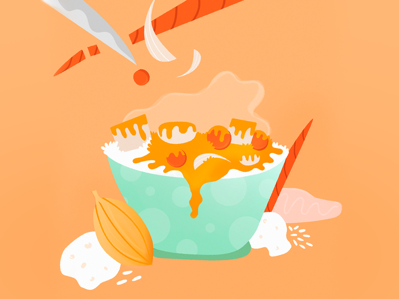 Yellow Curry stay home carrots meal food illustration food and drink yellow curry food vector illustrator illustration design