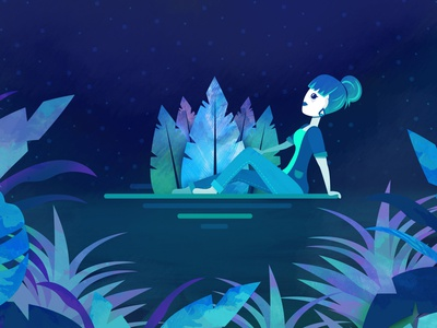 🌿 jungle ✨stars 🌊 salty air ⁣ character girl character cute sitting women girl stars beach jungle plants vector motion graphics motion design character design illustrator illustration design