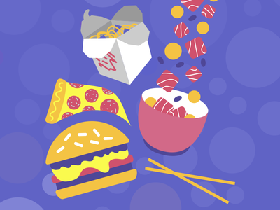 yummm yum lunch dinner burger chinese food pizza poke food cute vector motion graphics motion design illustration illustrator design