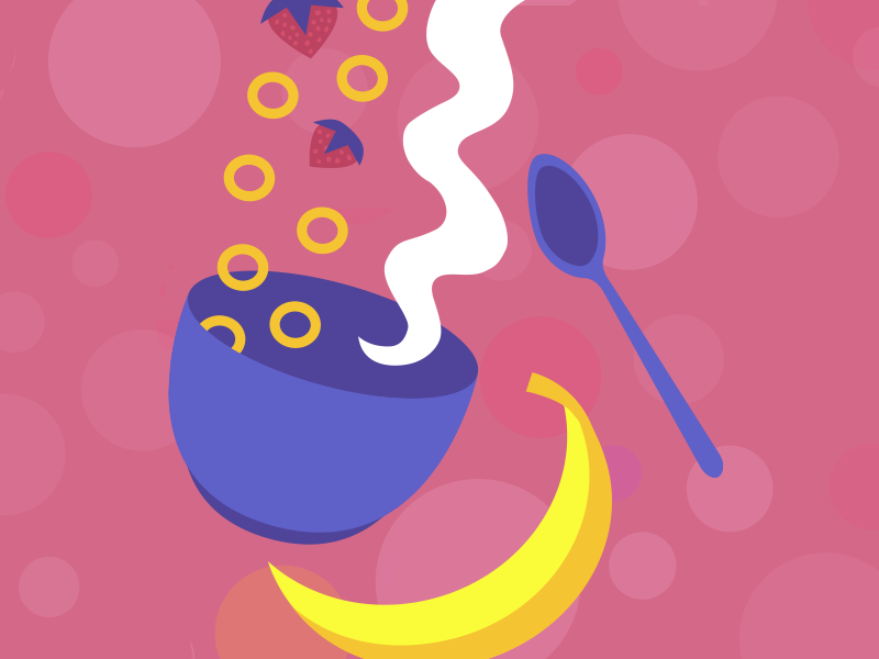Breakfast Cereal vector illustration cheerios cereal banana strawberries strawberry food vector illustration illustrator design